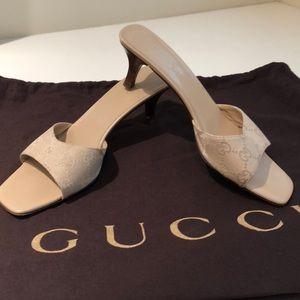 GUCCI cream GG mules